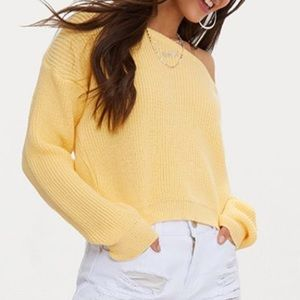 Sweaters - Yellow off the shoulder knit sweater